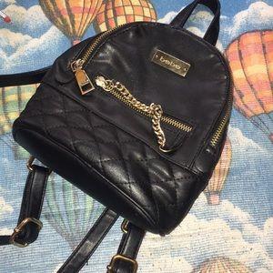 Black Leather  mini backpack purse